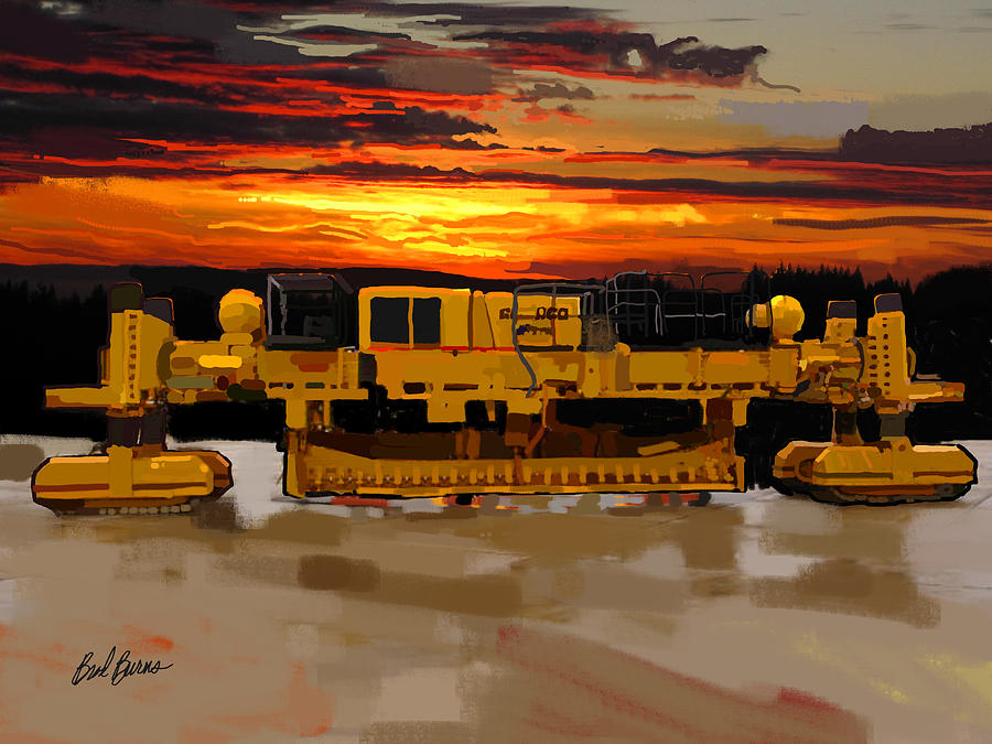 Bulldozers Painting - Gomaco Slip Form Paver by Brad Burns
