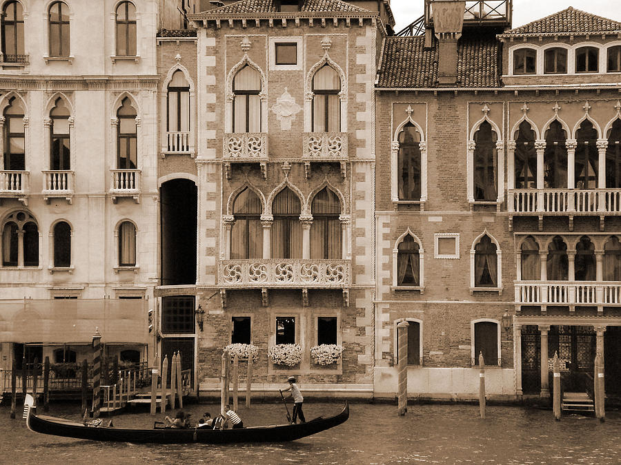 Gondola Crossing Grand Canal Photograph