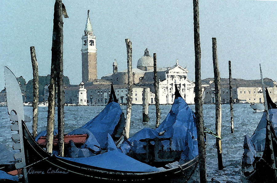 Gondolas Across San Giorgio Digital Art