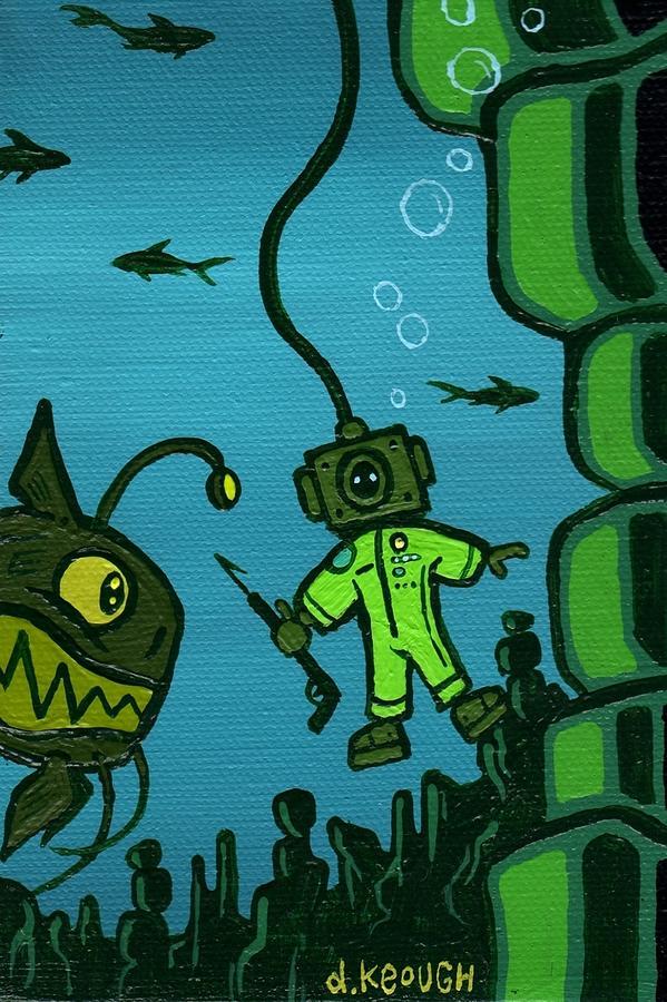 Fishing Painting - Gone Fishn by Dan Keough