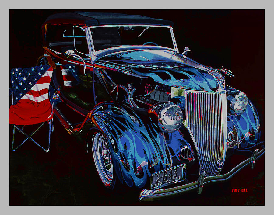 1936 Ford Phaeton Car Automobile Flame Paint American Flag Beer Iraq Hot Rod Roadster Blue Black V8 Painting - Gone To Iraq by Mike Hill