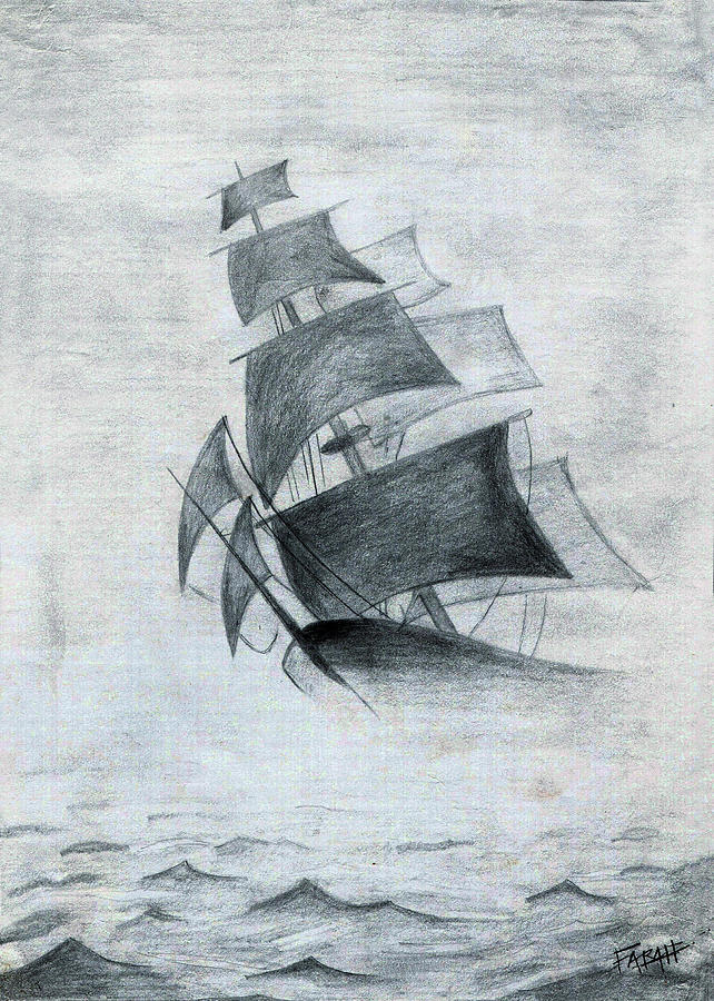 Sailboats Drawing - Gone With The Wind by Farah Faizal
