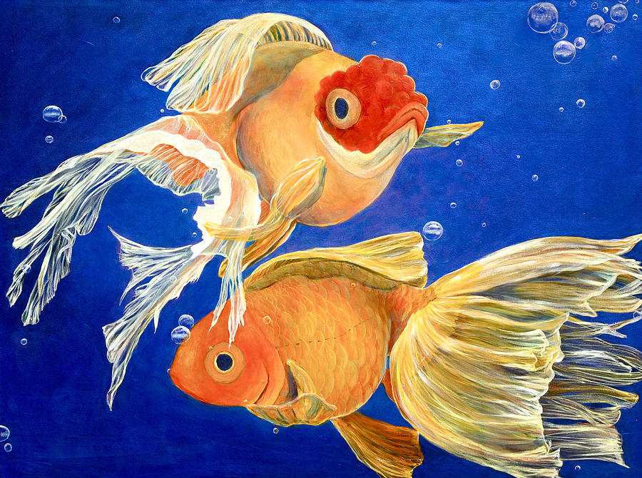 Good Luck Goldfish Painting by Samantha Lockwood