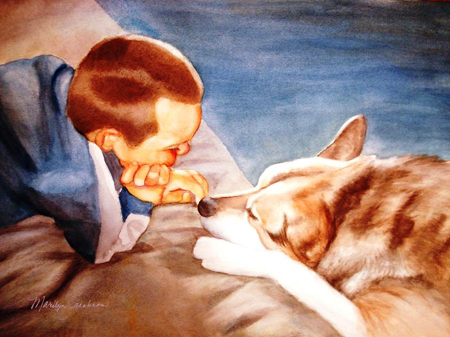 Boy & Dog Painting - Goodbye Misty by Marilyn Jacobson