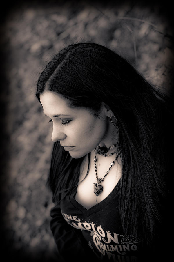 Black And White Photograph - Goth At Heart - 1of 4 by Scott  Wyatt
