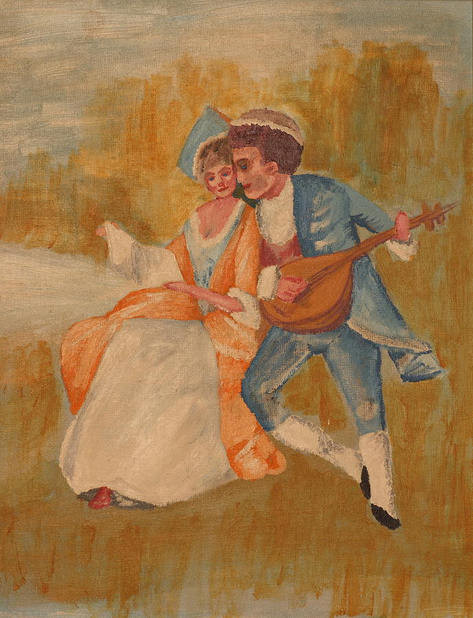 Brooch Goya Lute Lovers Painting - Goya by Eckland Cort