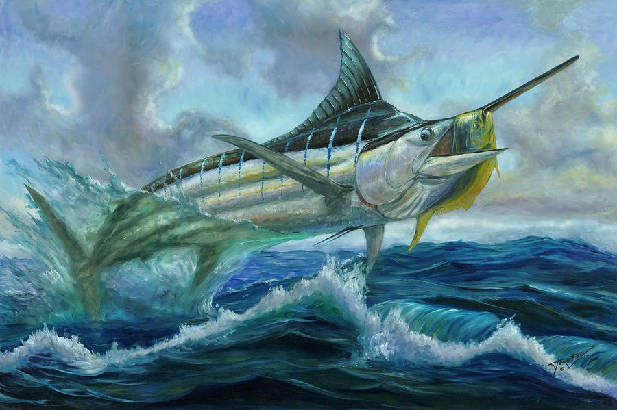 Grand Blue Marlin Jumping Eating Mahi Mahi Painting By