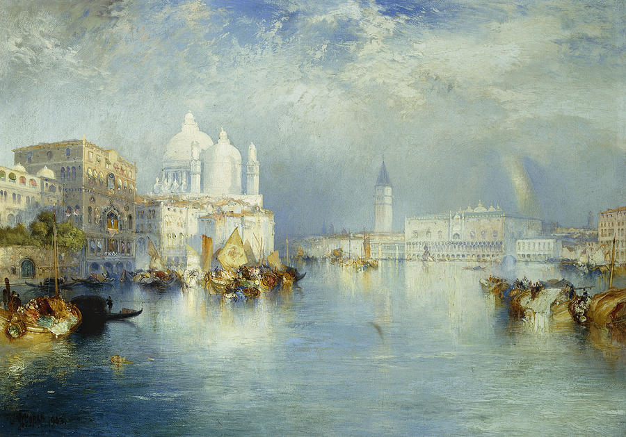 American Artist; Architectural; Architectural Feature; Blue; Boats; Buildings; Building Exteriors; Bystander; Calm; City;cloud; Cloudy; Color; Daytime; Docked; Dome; Europe; Grand Canal; Hudson River School;italy; Landmark; Monument; Moored; Oil Painting; Outdoors; Peaceful; People; Quiet; Reflection; Romantic Art; Romantic Era; Romanticism; Saint Mary Of Health; Santa Maria Della Salute; Sky; Stationary; Still; Tower; Tranquil; Urban; Venezia; Venice; Water Transport; Water Vessel; White  Painting - Grand Canal Venice by Thomas Moran