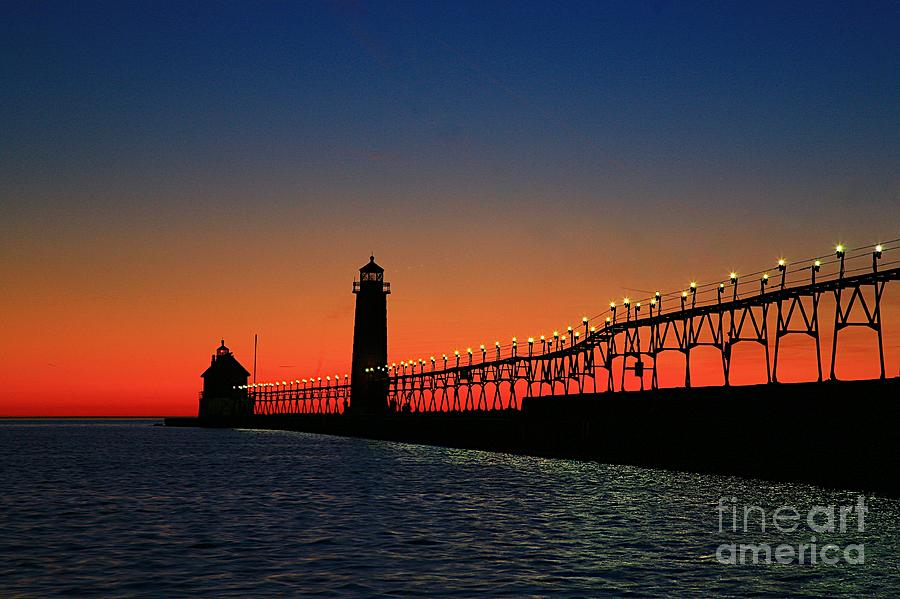 Water Photograph - Grand Haven Light House by Robert Pearson