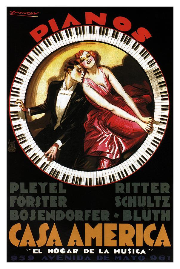 Grandest Pianos At Casa America - Vintage Advertising Poster Mixed Media