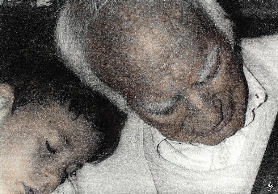 Sleep Photograph - Grampas Shoulder by Wayne King