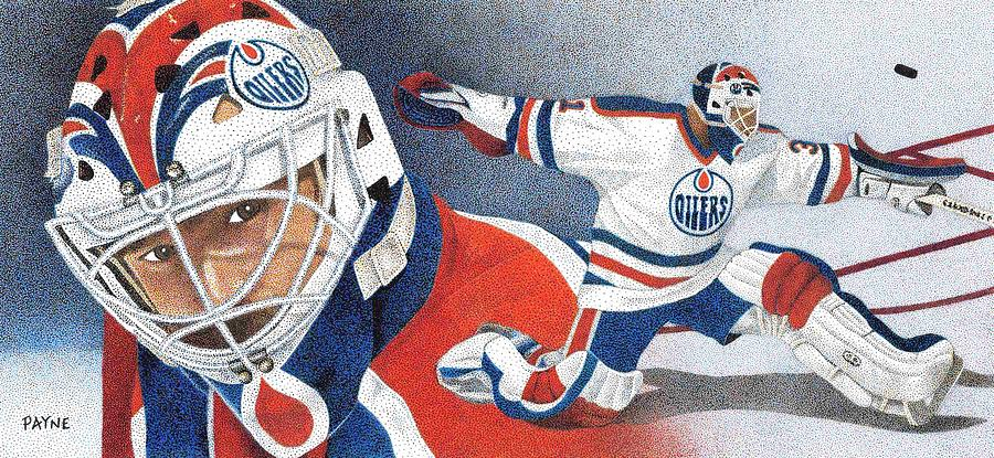 Edmonton Oilers Painting - Grant Fuhr by Rob Payne