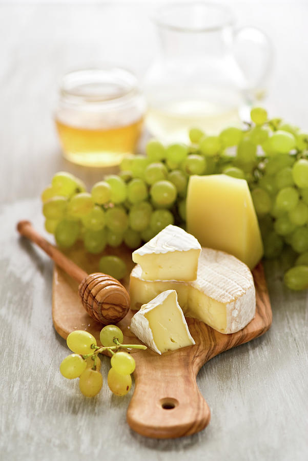 Grape, Honey And Cheese Photograph