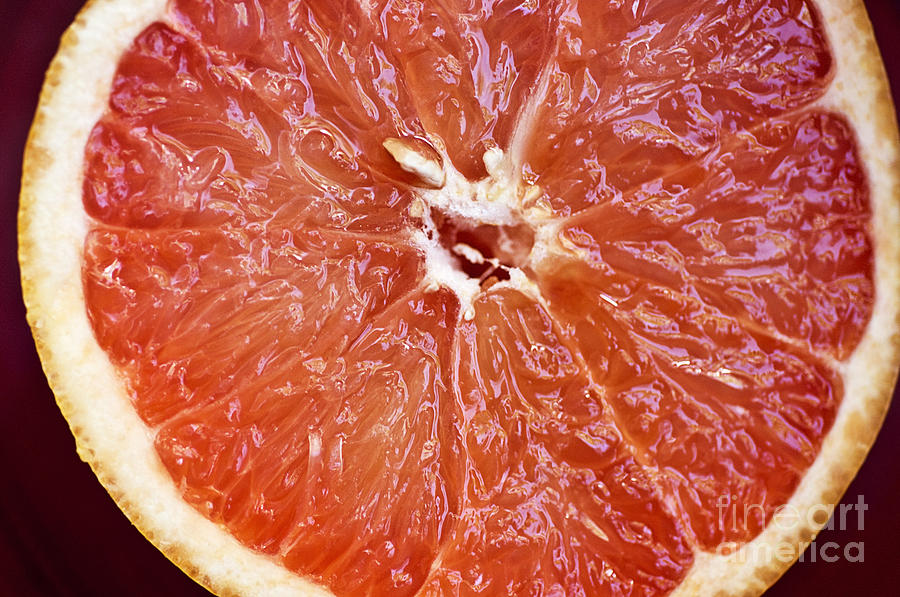 Center Photograph - Grapefruit Half by Ray Laskowitz - Printscapes