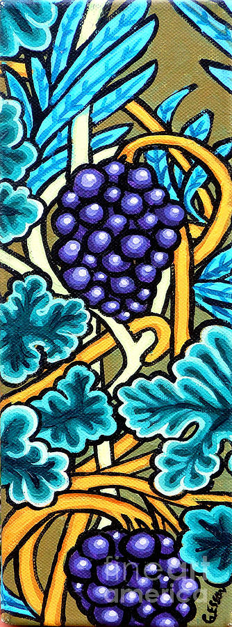 Purple Grapes On A Vine Painting - Grapes by Genevieve Esson