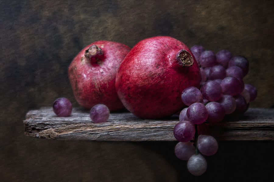 Grapes With Pomegranates Photograph