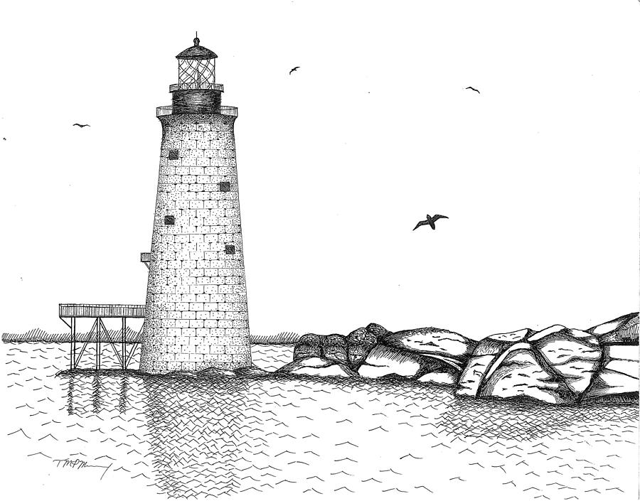 Graves Lighthouse - Boston Drawing by Tim Murray