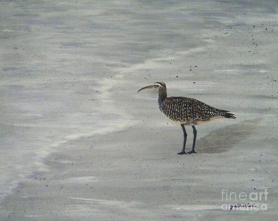 Beach Painting - Gray Day by JoAnn Wheeler