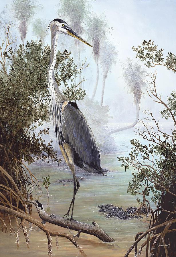 Blue Heron Painting - Great Blue Heron by Kevin Brant
