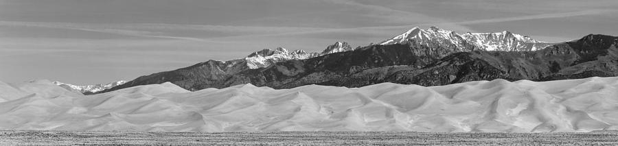 Great Sand Dunes National Park And Preserve Panorama Bw Photograph