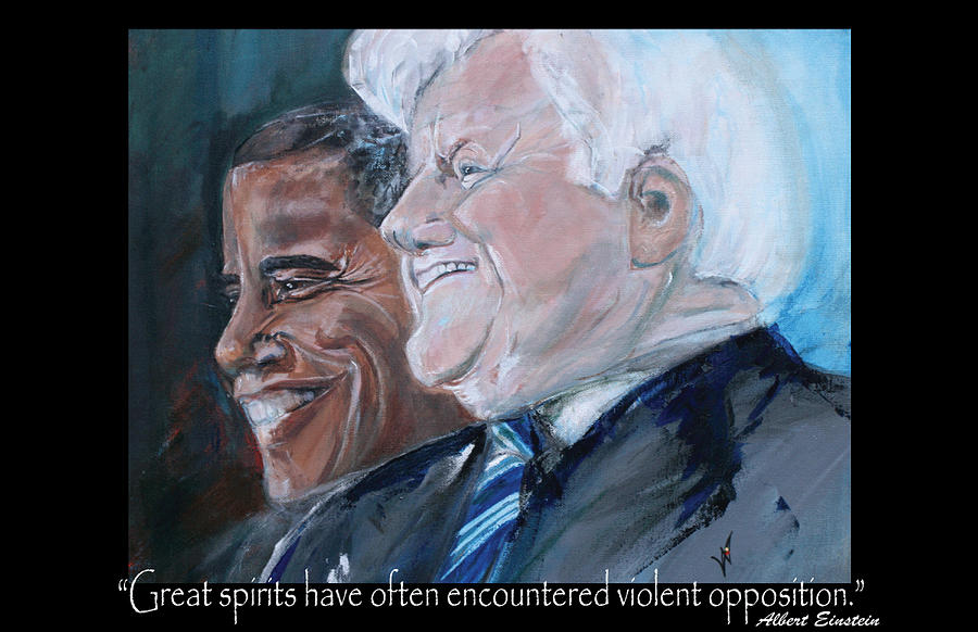 Kennedy Painting - Great Spirits - Teddy And Barack by Valerie Wolf
