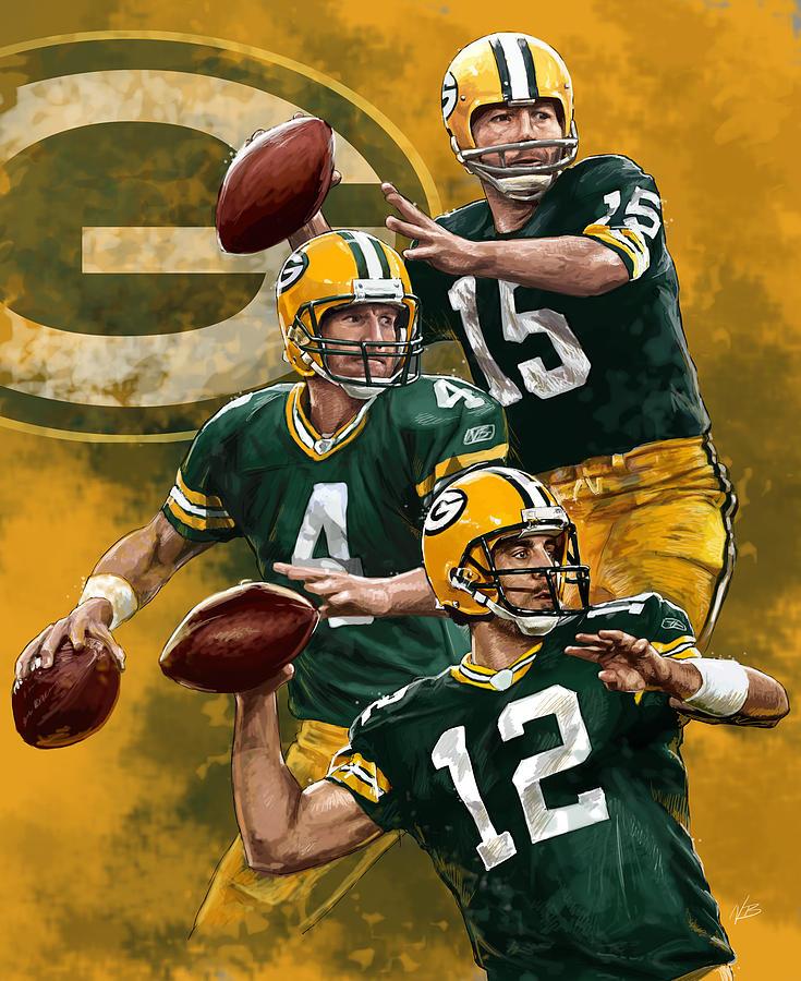 Green Bay Packers Quarterbacks Painting By Nate Baranowski