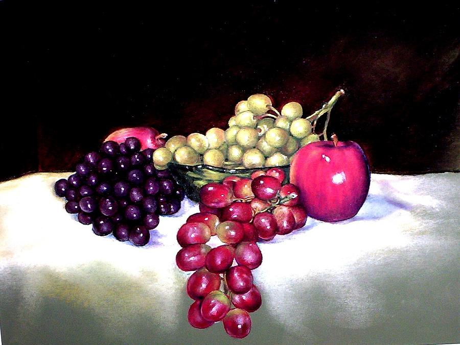 Grapes Painting - Green Bowl With Fruit by Mahto Hogue