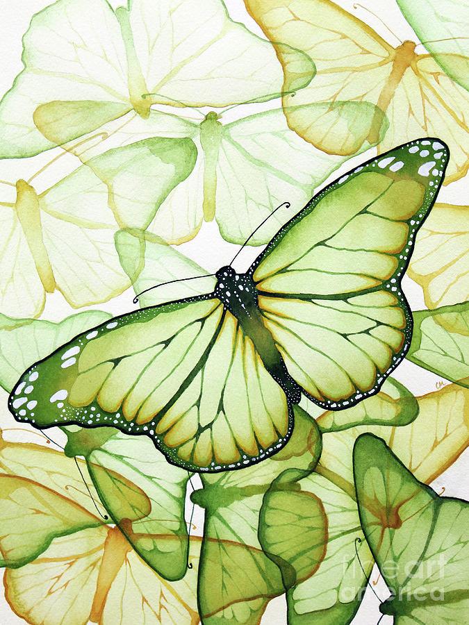 Green Butterflies Painting