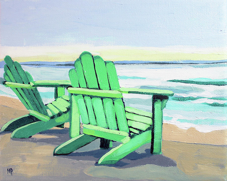 Green Chairs On The Shore Painting