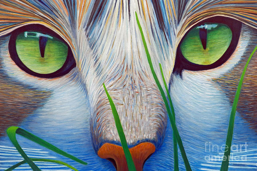 Cat Painting - Green Eyes by Brian  Commerford