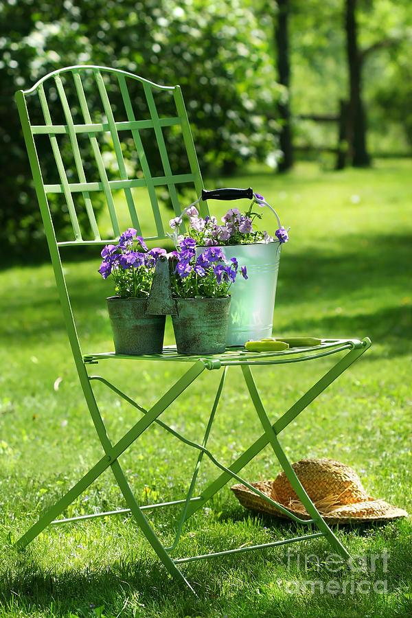 Afternoon Digital Art - Green Garden Chair by Sandra Cunningham