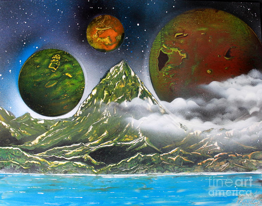 Space Art Painting - Green Mt.  4686 by Greg Moores