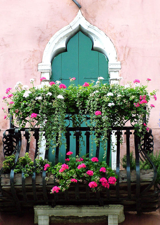 Green Ornate Door With Geraniums Photograph