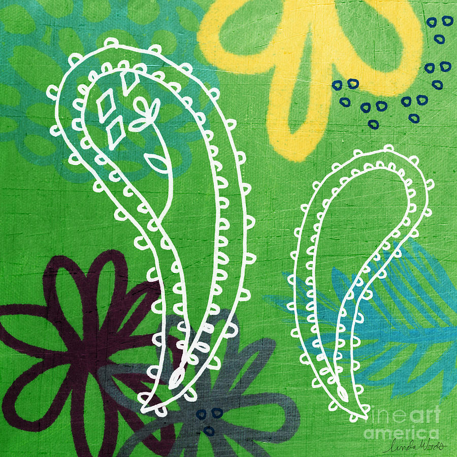 Paisley Painting - Green Paisley Garden by Linda Woods