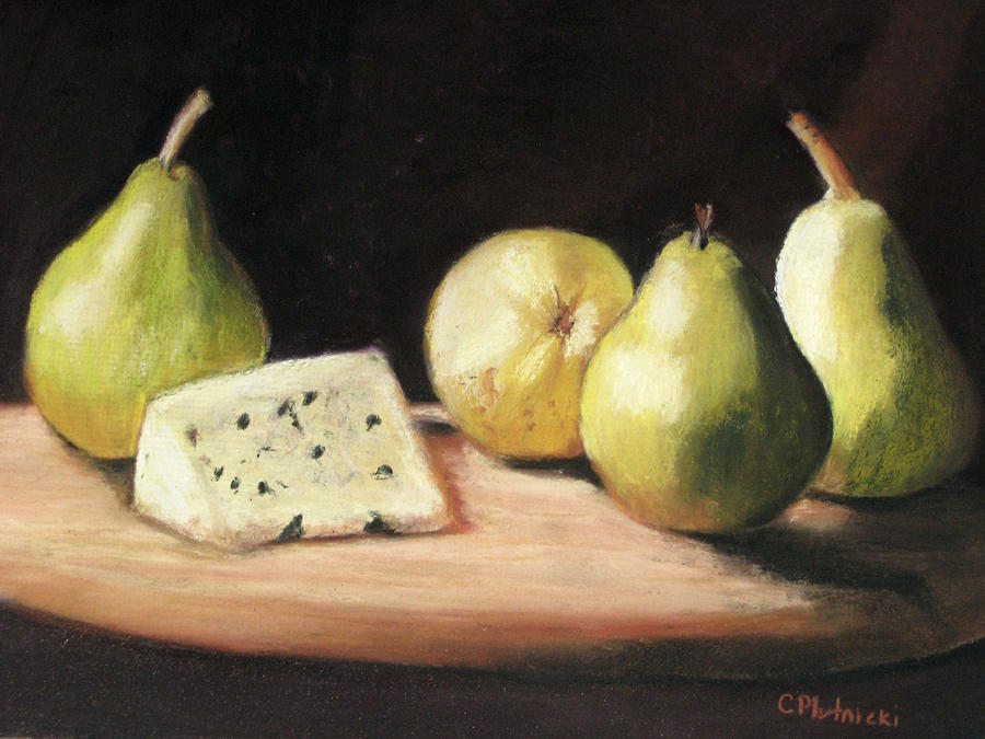 Cheese & Pears Pastel - Green Pears With Cheese by Cindy Plutnicki