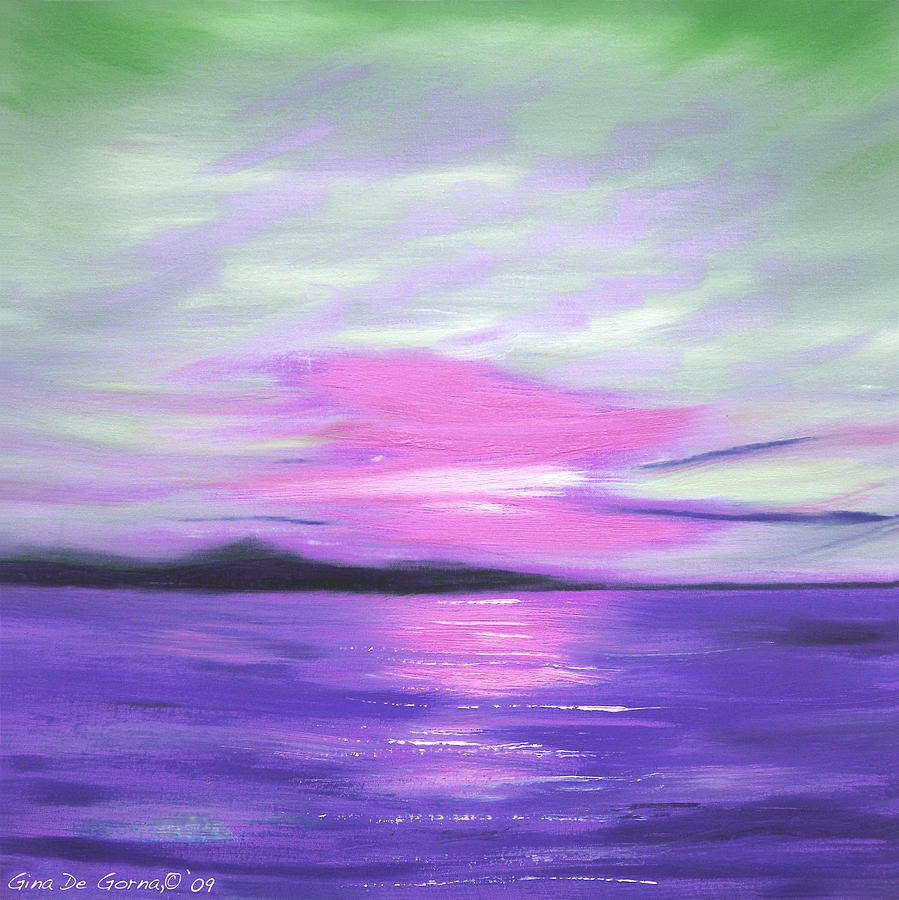 Green Painting - Green Skies And Purple Seas Sunset by Gina De Gorna
