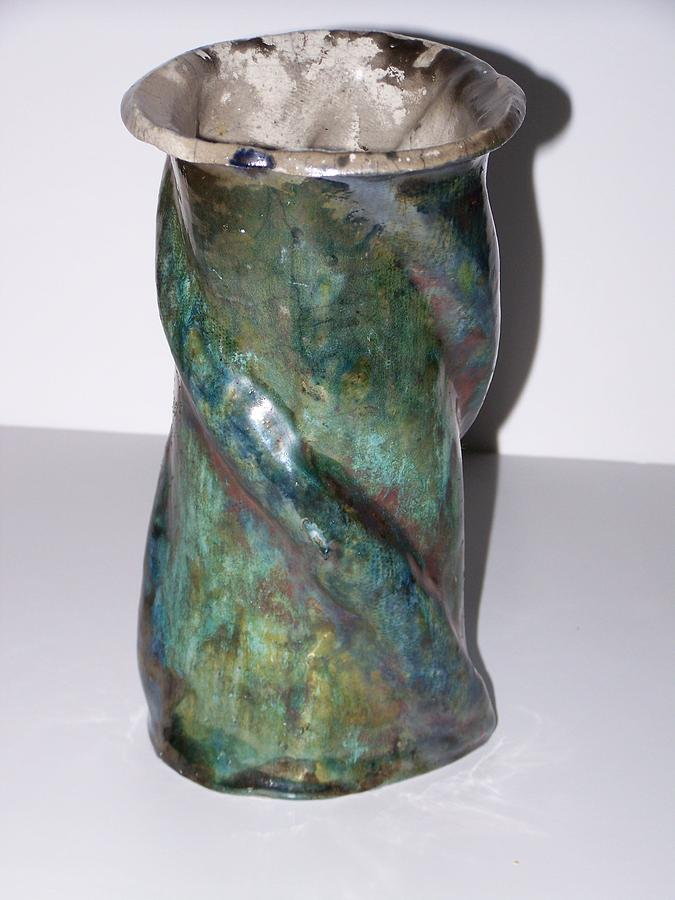 Greenish Copper Swirl Vase Ceramic Art
