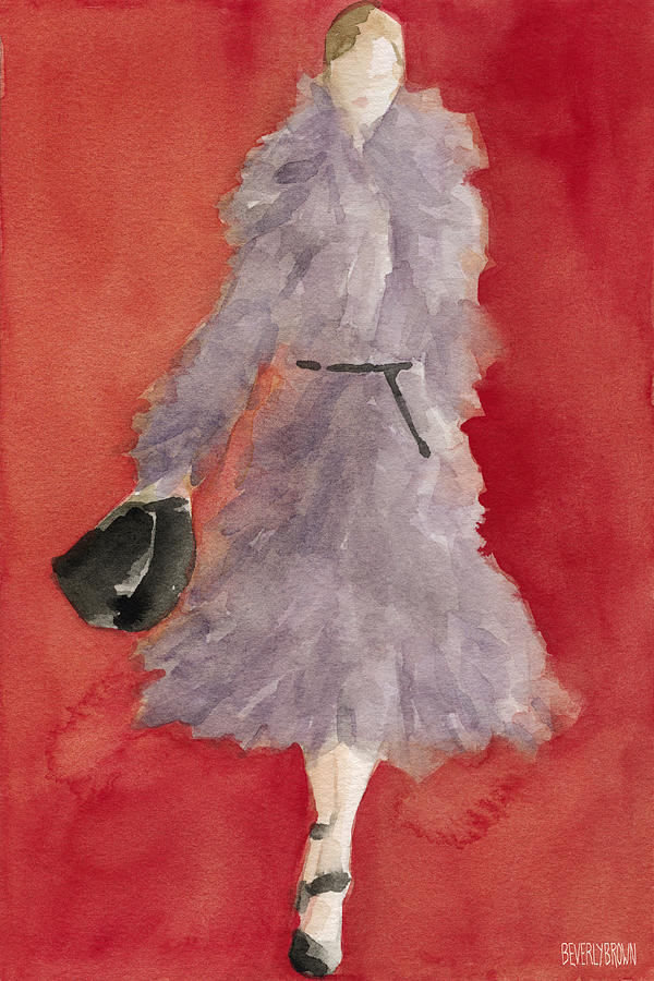 Fashion Painting - Grey Coat - Watercolor Fashion Illustration by Beverly Brown