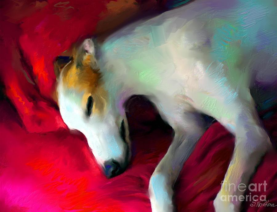 Greyhound Dog Portrait Painting
