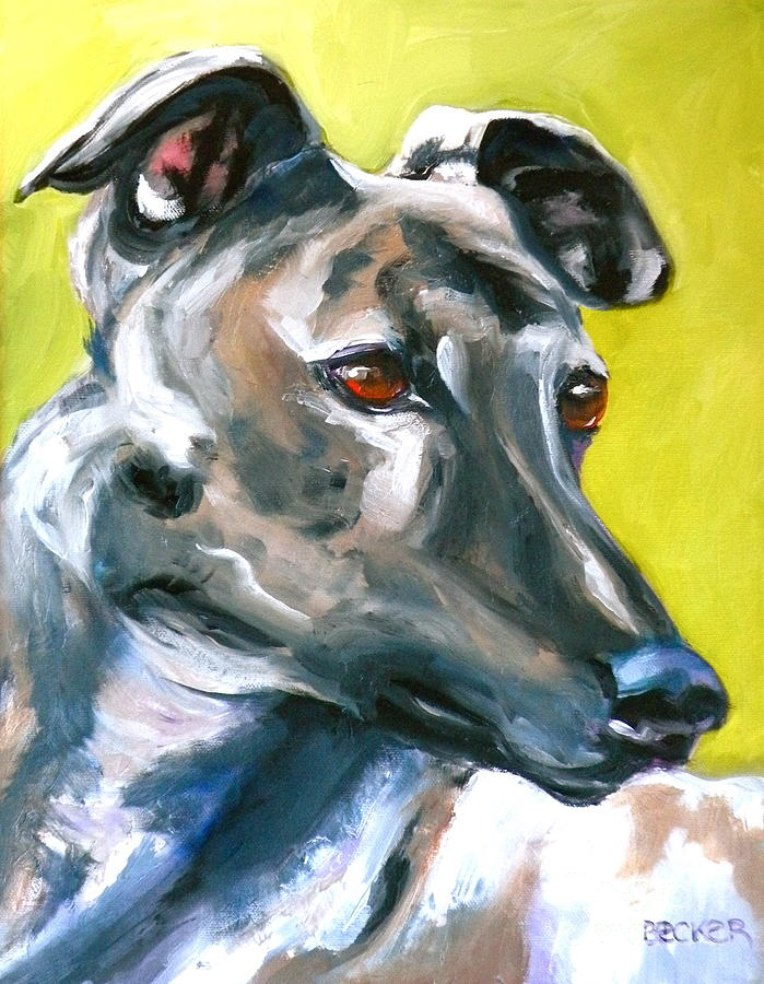 Dogs Painting - Greyhound by Susan A Becker