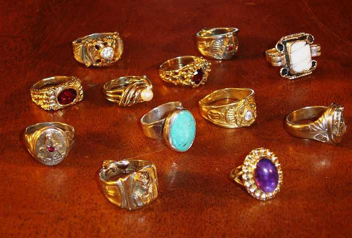 Gold Jewelry - Group Of Gold And Silver Rings by Hal Sharpe