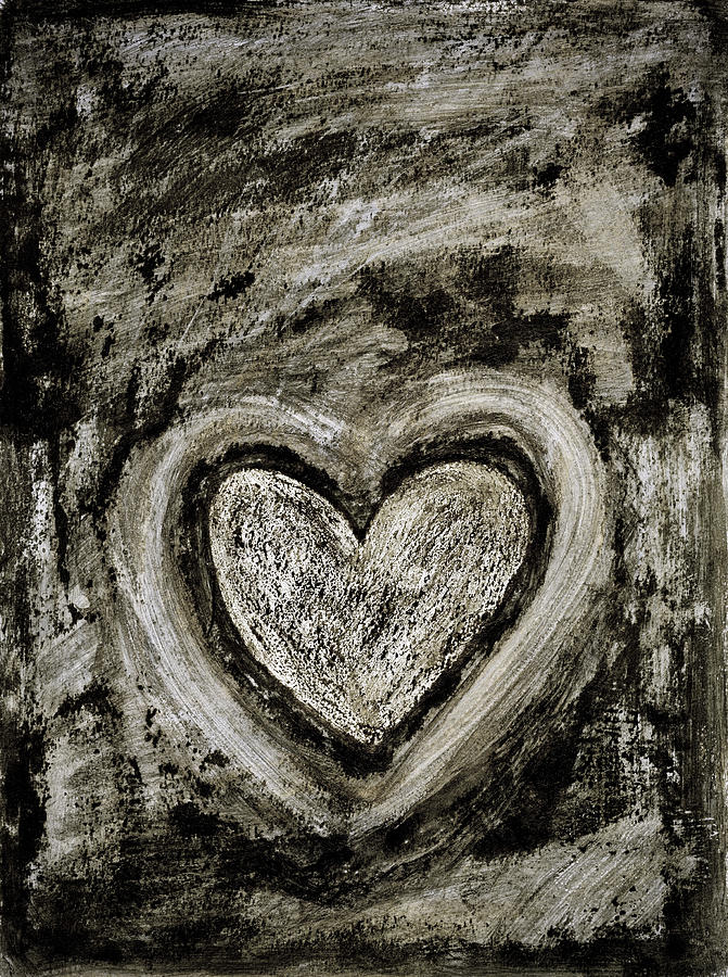Abstract Art Painting - Grunge Heart by Frank Tschakert