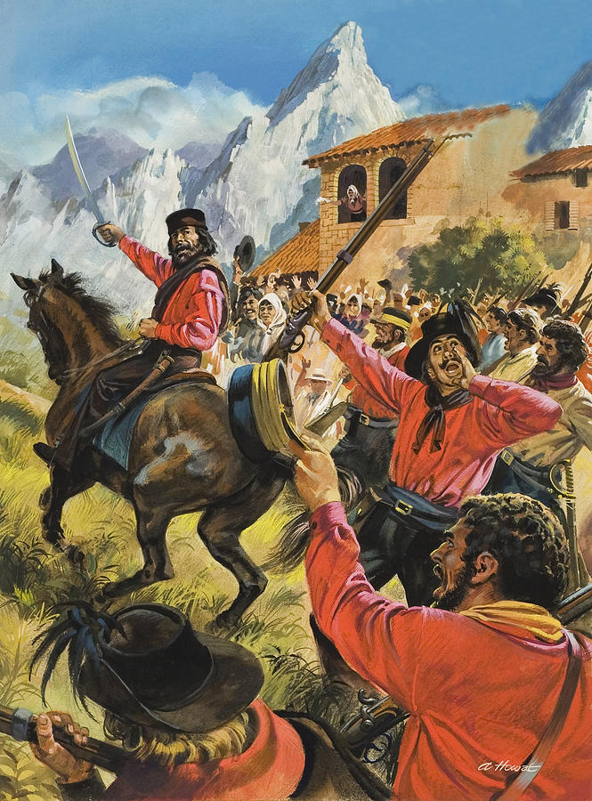 Guiseppe Painting - Guiseppe Garibaldi And His Army In The Battle With The Neopolitan Royal Troops by Andrew Howat