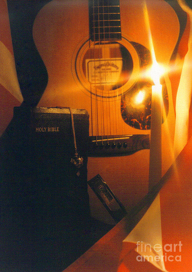 Guitar Photograph - Guitar And Bible by Sherry Vance