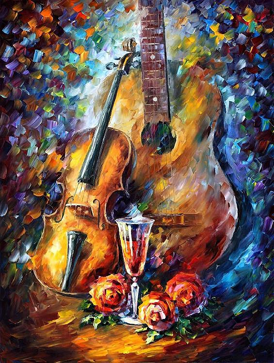 Afremov Painting - Guitar And Violin by Leonid Afremov