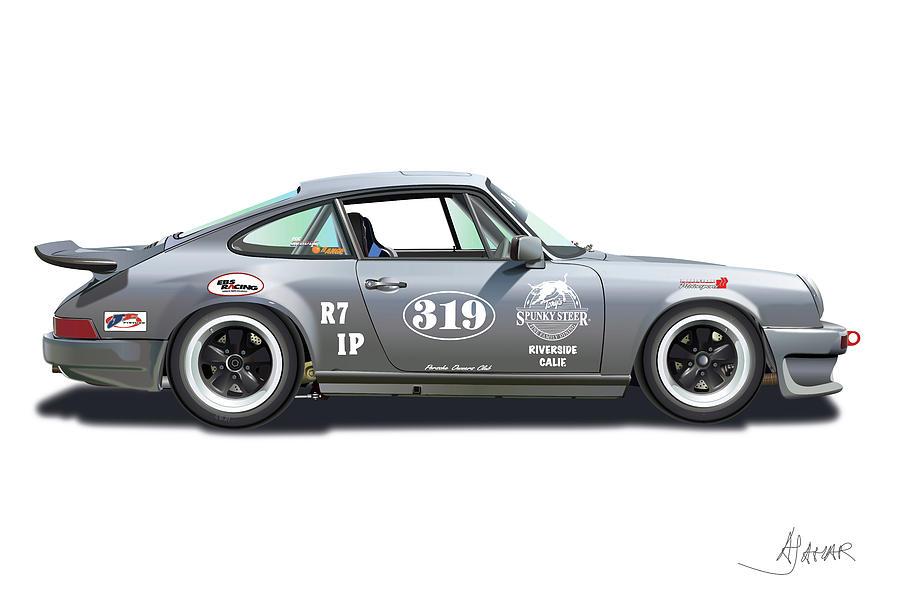 Porsche Owners Club Digital Art - Gunter Lennartz by Alain Jamar