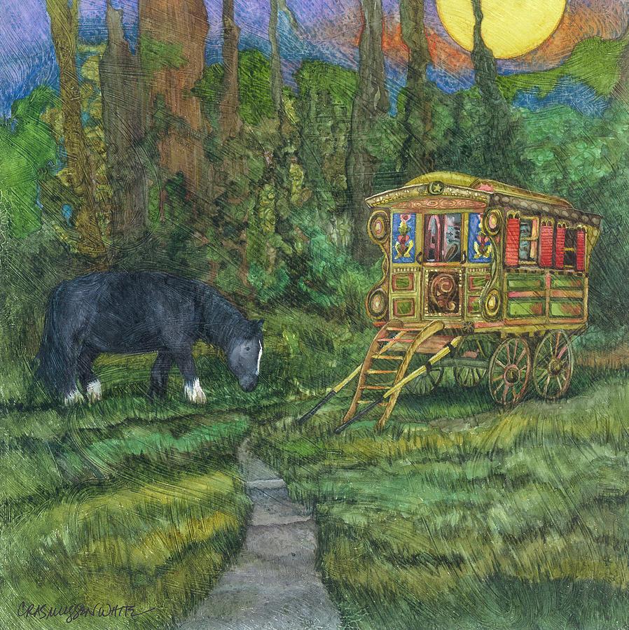 Gypsy Wagon Art Painting - Gwendolyns Wagon by Casey Rasmussen White