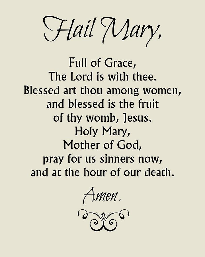 Hail Mary Prayer Digital Art by Classically Printed
