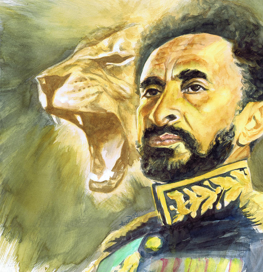 Haile Selassie Painting - Haile Selassie I - Lion by Adrienne Norris