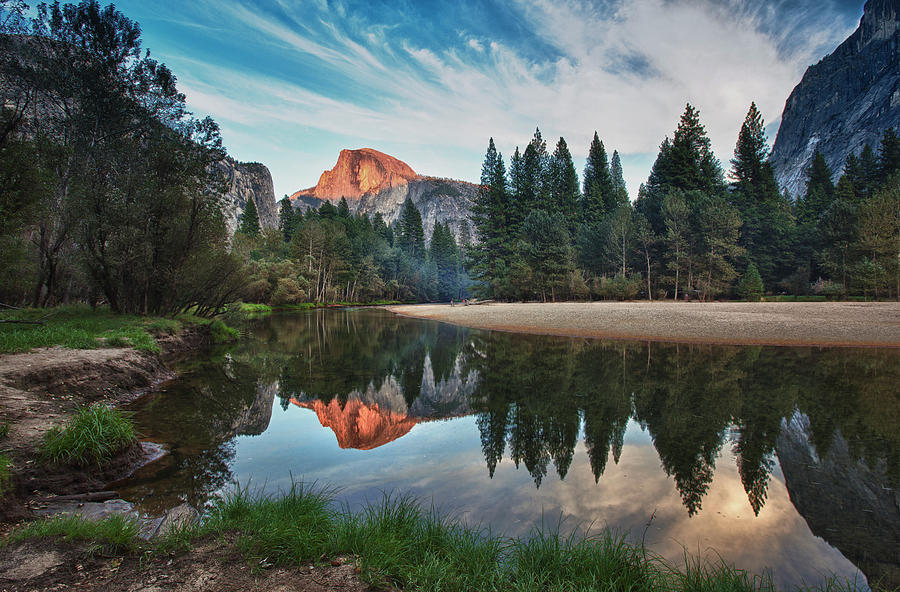 Horizontal Photograph - Half Dome And  Merced by Mimi Ditchie Photography